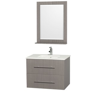 Wyndham Collection Centra Grey Oak/ White 30-inch Single Bathroom Vanity Set