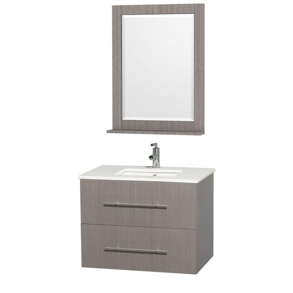Wyndham Collection Centra Grey Oak/ White 30-inch Single Bathroom Vanity Set