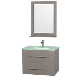 Wyndham Collection Centra Grey Oak/ Green Glass 30-inch Single Bathroom Vanity Set
