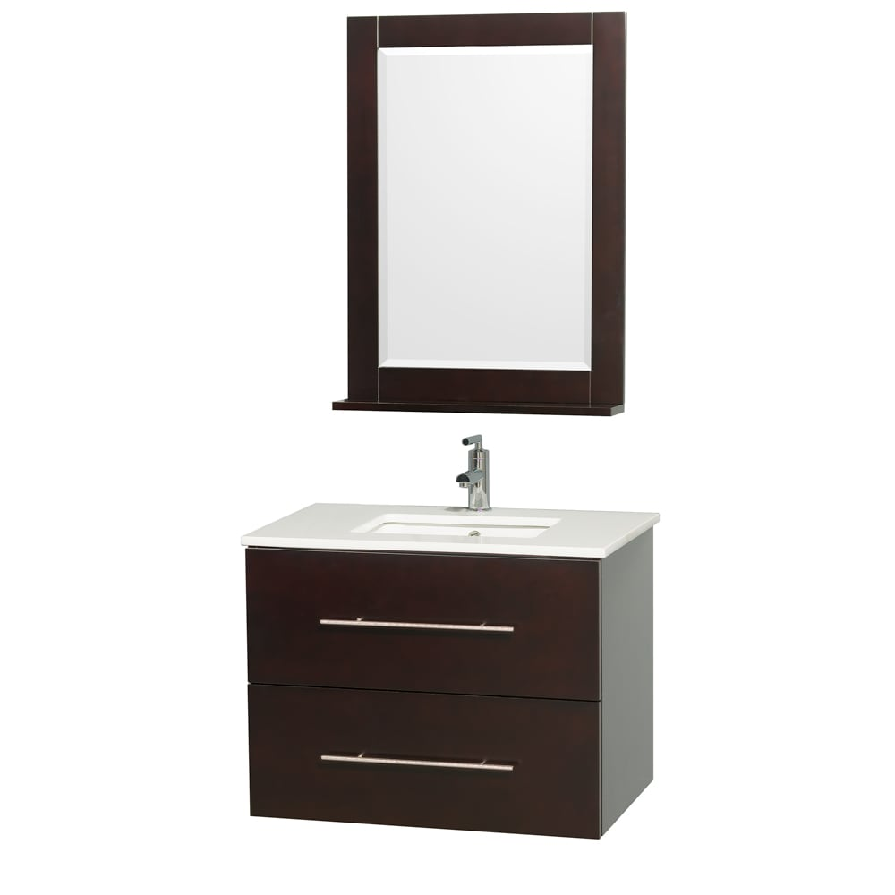 Wyndham Collection Centra Espresso/ White 30-inch Single Bathroom Vanity Set (Espresso with White Stone Top with Porcelain sink)