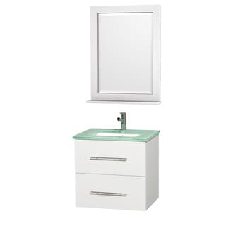 Wyndham Collection Centra White/ Green Glass 24-inch Single Bathroom Vanity Set