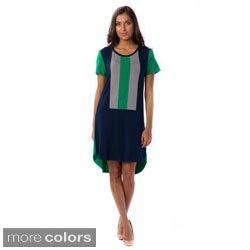 AtoZ Women's Colorblocked Casual Tunic Dress