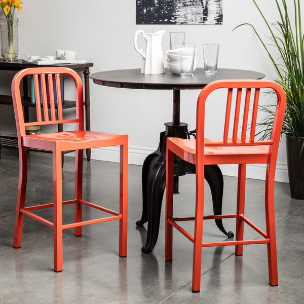 Swell Shop Metal Tangerine Counter Stools Set Of 2 Free Dailytribune Chair Design For Home Dailytribuneorg