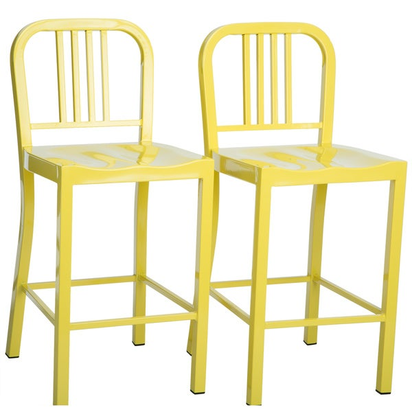 Metal Lemon Counter Stools (Set of 2)