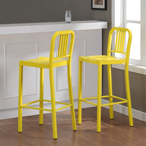 Metal Lemon Bar Stools Set Of 2 Free Shipping Today