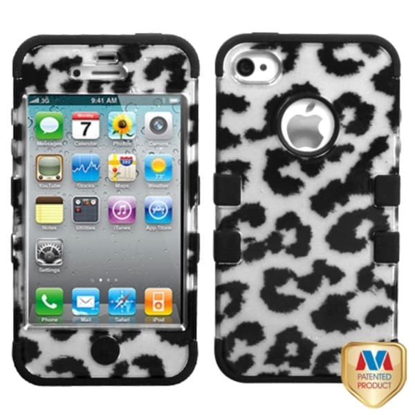 INSTEN Leopard Silver/ Black TUFF Hybrid Phone Case Cover for Apple iPhone 4/ 4S