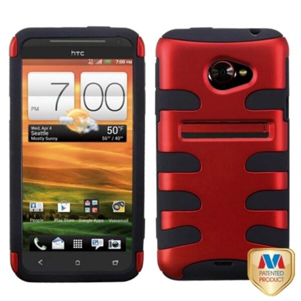 INSTEN Titanium Red/ Black Fishbone Phone Case Cover for HTC EVO 4G LTE
