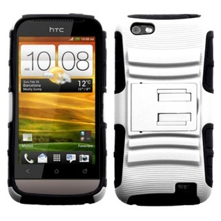 INSTEN White/ Black Advanced Armor Stand Protector Phone Case Cover for HTC One V