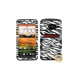 INSTEN Zebra Skin/ Black TUFF Hybrid Phone Case Cover for HTC EVO 4G LTE