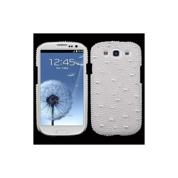 INSTEN White Pearl Diamond Back Phone Case Cover for Samsung Galaxy S3
