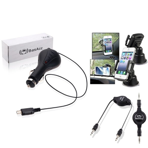 BasAcc Universal Car Charger/ Car Phone Holder/ Audio Cable