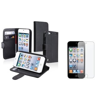 Insten Wallet iPod Case Cover/ Anti-Glare Screen Protector for Apple iPod Touch Generation 5th/ 6th