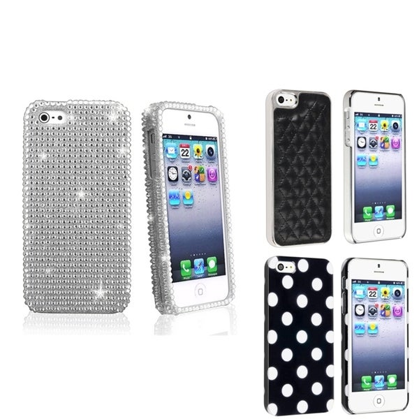BasAcc Silver Diamond/ Black Leather/ Dot Case for Apple® iPhone 5
