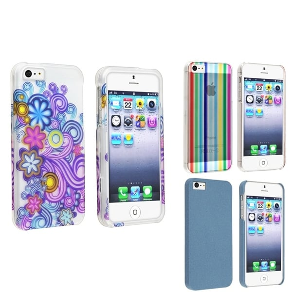 BasAcc Flowers/ Rainbow Stripe/ Blue Case for Apple® iPhone 5