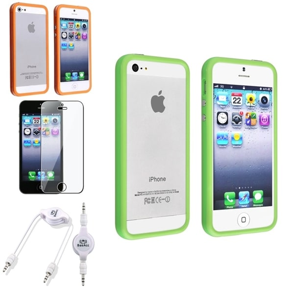 INSTEN TPU Case Cover/ Screen Protector/ Audio Cable for Apple iPhone 5/ 5S