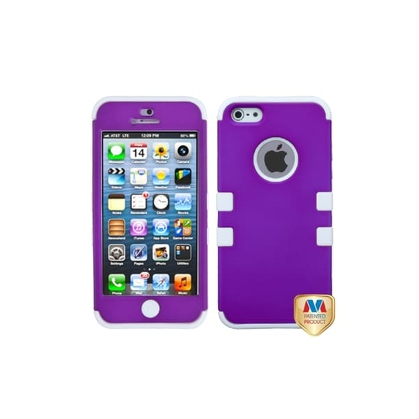 INSTEN Grape/ White Hybrid Phone Case Cover for Apple iPhone 5