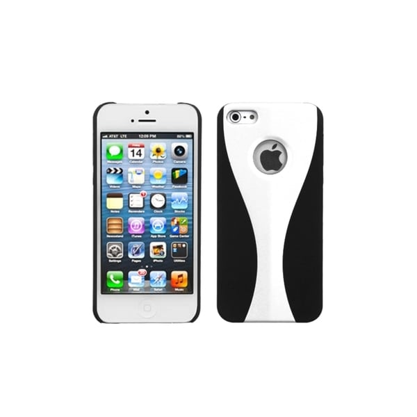 INSTEN White/ Black Wave Back Phone Case Cover for Apple iPhone 5