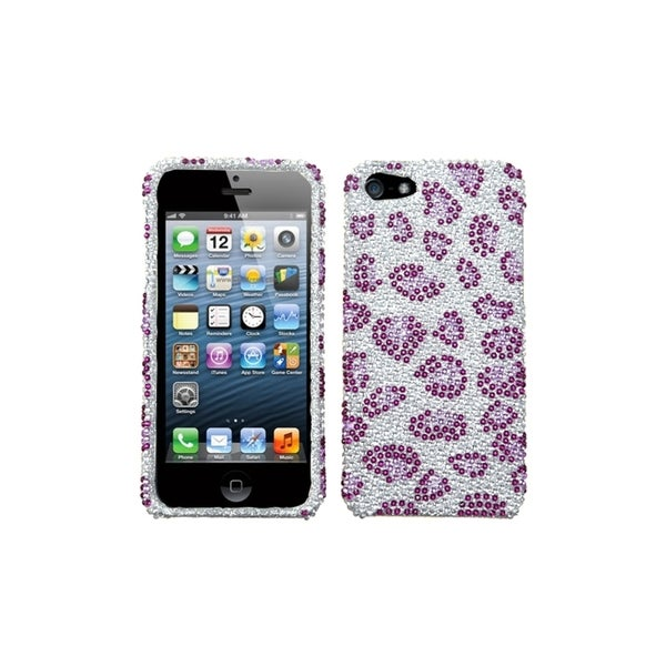 INSTEN Leopard Skin/ Purple Phone Case Cover for Apple iPhone 5