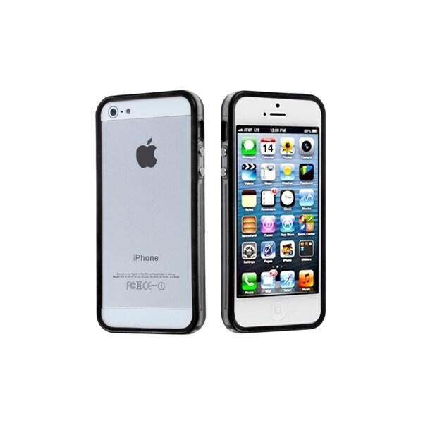 INSTEN Black/ Clear TPU Bumper Phone Case Cover for Apple iPhone 5