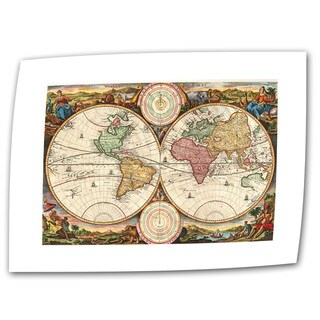 Daniel Stoopendaal '1730 Map of the World' Unwrapped Canvas - Multi