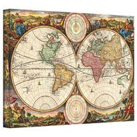 Daniel Stoopendaal '1730 Map of the World' Gallery Wrapped Canvas