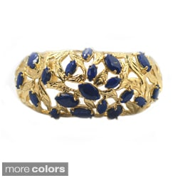 De Buman 14k Gold Plated Genuine Lapis, White Shell or Created Red Coral Gemstone Cuff Bracelet (Option: Coral)