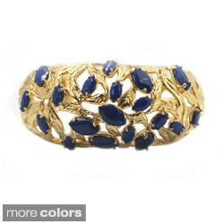 De Buman 14k Gold Plated Genuine Lapis, White Shell or Created Red Coral Gemstone Cuff Bracelet