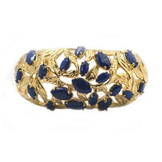 De Buman 14k Gold Plated Genuine Lapis, White Shell or Created Red Coral Gemstone Cuff Bracelet (3 options available)