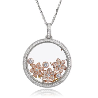 De Buman Two-tone Silver Cubic Zirconia and Crystal Flower Necklace