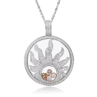 De Buman Two-tone Silver Cubic Zirconia and Crystal Sun Necklace