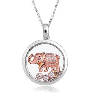 De Buman Two-tone Silver Cubic Zirconia and Crystal Elephant Necklace