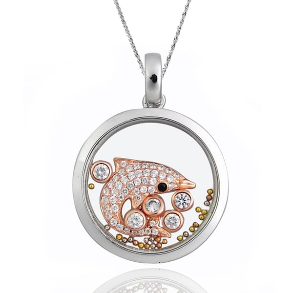 De Buman Two-tone Silver Cubic Zirconia and Crystal Dolphin Necklace