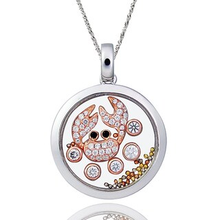 De Buman Two-tone Silver Cubic Zirconia and Crystal Crab Necklace