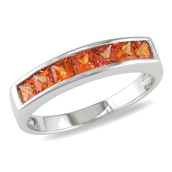 Miadora 14k White Gold Orange Sapphire Ring