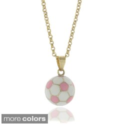 Molly and Emma 18k Gold Overlay Children's Enamel Soccer Ball Necklace