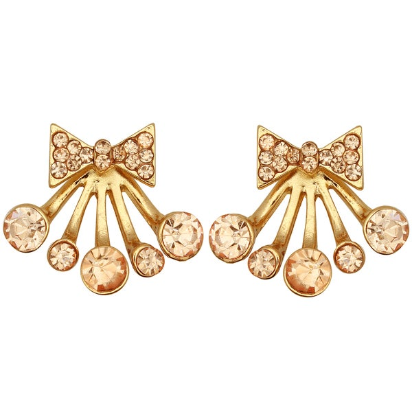 Kate Marie Rose Goldtone Rhinestone Fashion Earrings