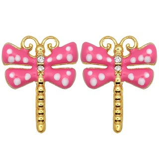 Kate Marie Goldtone Rhinestone and Enamel Dragonfly Design Earrings