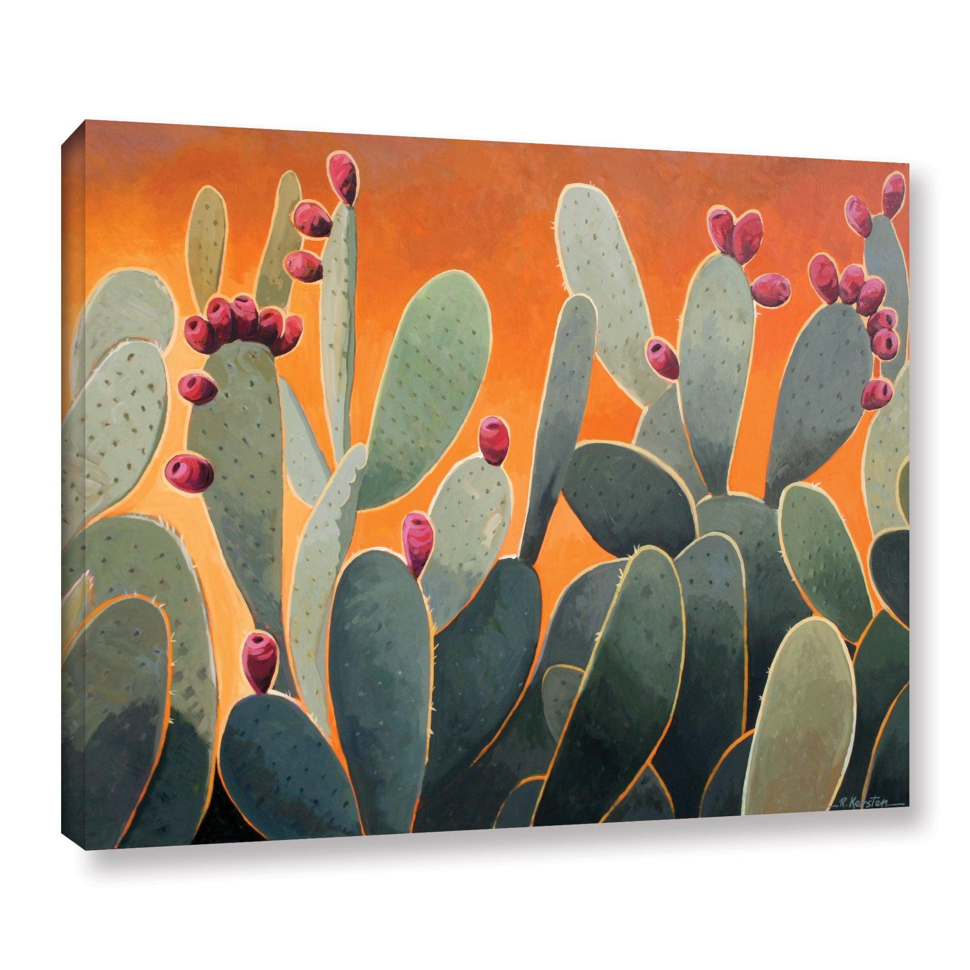 Geometric Nopales Cactus Art Painting Psycadelic