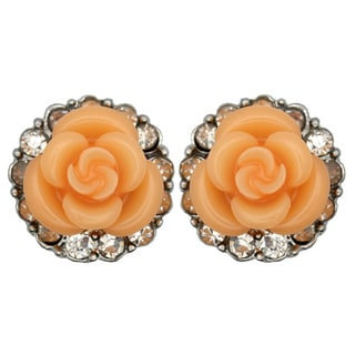 Kate Marie Silvertone Orange Enamel Flower and Rhinestone Earrings