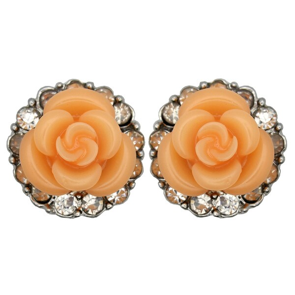 Kate Marie Silvertone Orange Enamel Flower and Rhinestone Earrings