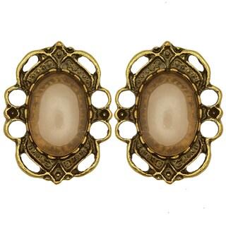 Kate Marie Goldtone Brown Acrylic Flower Design Earrings