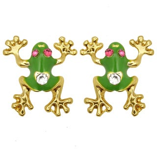 Kate Marie Goldtone White Rhinestone and Enamel Frog Design Earrings