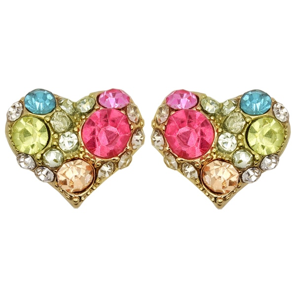 Kate Marie Goldtone Multi-colored Rhinestone Heart Design Earrings