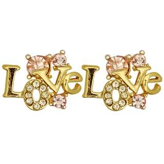 Kate Marie Goldtone Rhinestone 'Love' Fashion Earrings