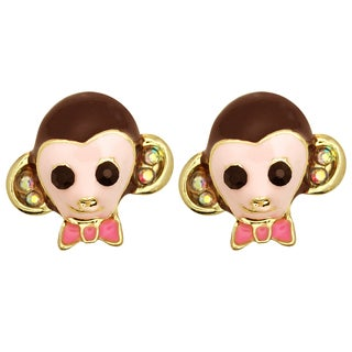 Kate Marie Goldtone Rhinestone and Enamel Monkey Fashion Earrings