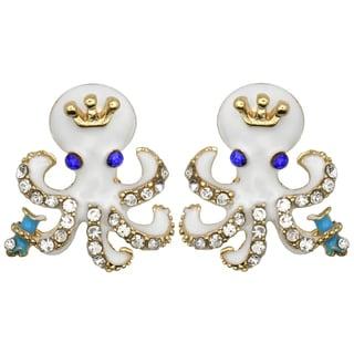 Kate Marie Goldtone Rhinestone and Enamel Octopus Fashion Earrings