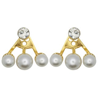 Kate Marie Goldtone White Rhinestone and Faux Pearl Fashion Earrings