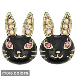 Kate Marie Goldtone Rhinestone Black Enamel Rabbit Design Earrings