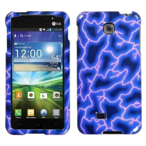 MYBAT Blue Lightning Phone Protector Case Cover for LG P870 Escape