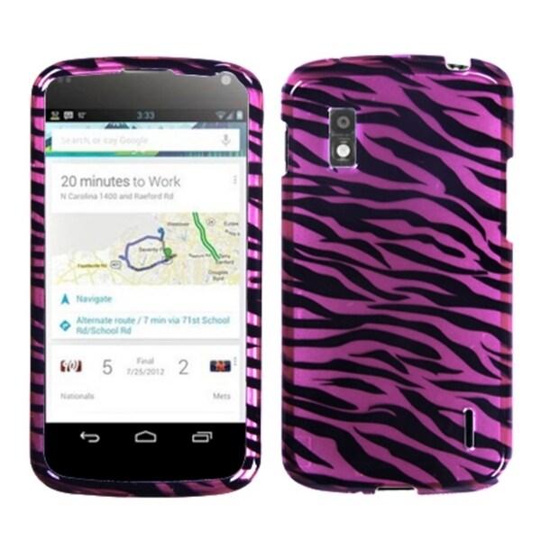 MYBAT Zebra SkinPink/ Black 2D Silver Phone Case for LG E960 Nexus 4